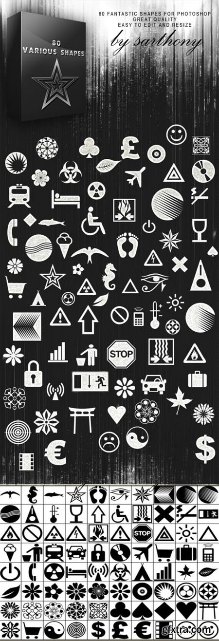 80 Various Photoshop Shapes (Re-Up)