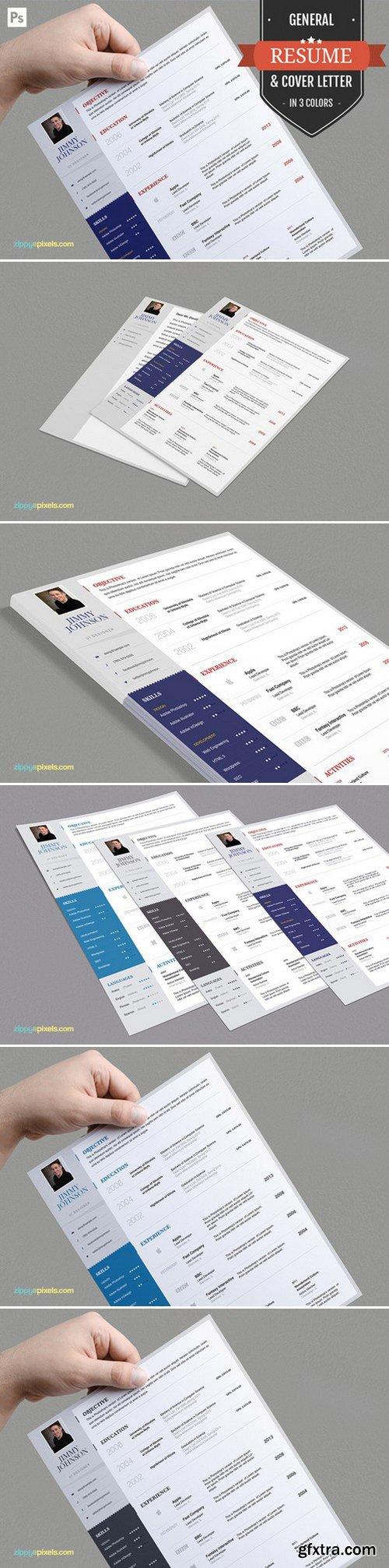 CM - Job Resume CV & Cover Letter PSD Set 394333