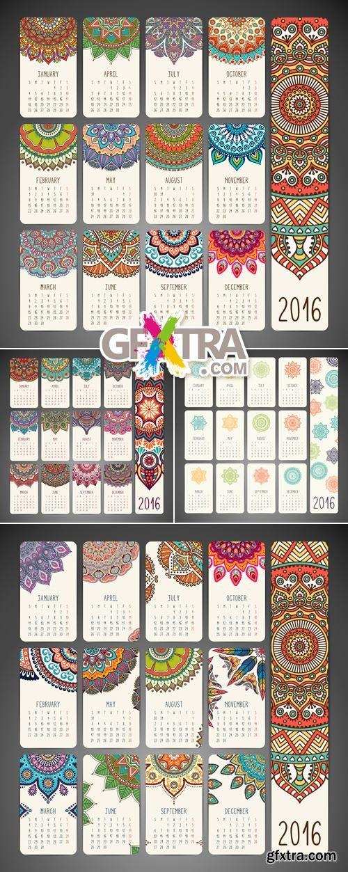 Calendar 2016 with Floral Ornaments Vector