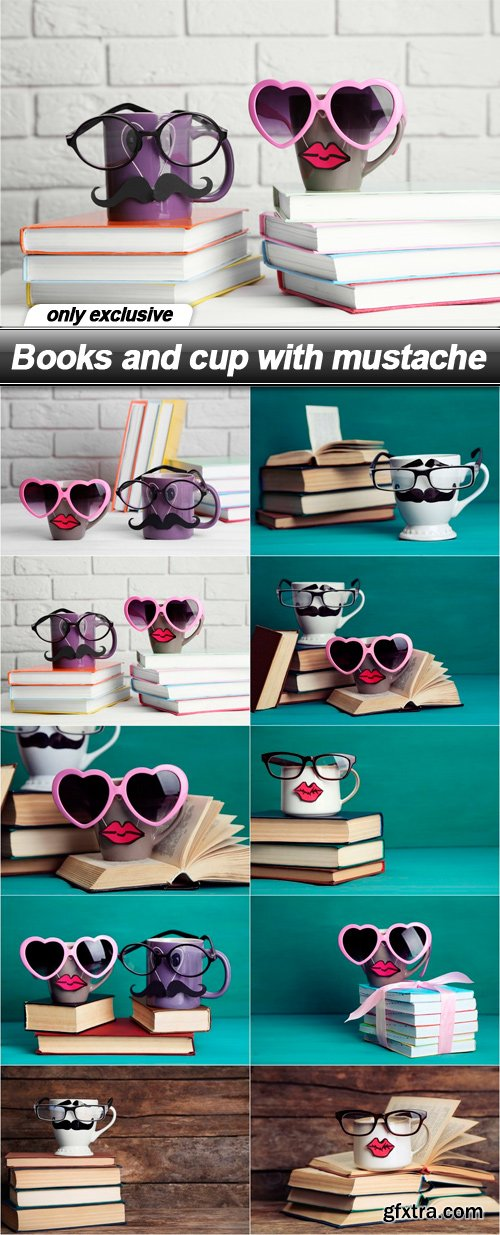 Books and cup with mustache - 10 UHQ JPEG