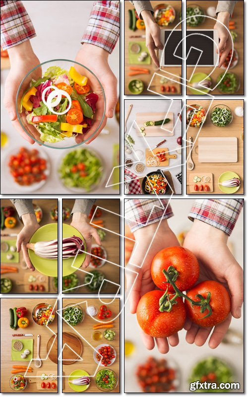 Creative vegetarian cooking at home concept with fresh healthy vegetables chopped, salads - Stock photo