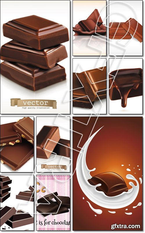 Collection of chocolate bars - Vector