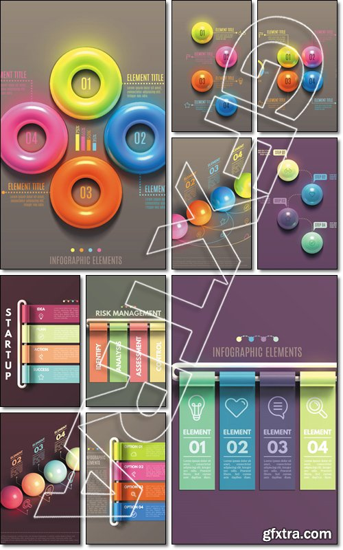 Business Infographics concept. Overlapping tubes form a square frame. 3d vector illustration EPS10 - Vector