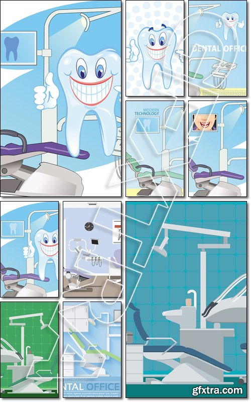 Dentist's modern working place. Dental tooth care. Orthodontic - Vector