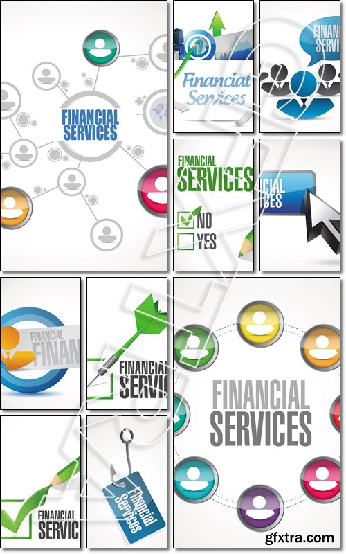 Financial services business board sign concept illustration design graphic - Vector
