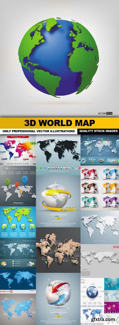 3d World Map - 22 Vector