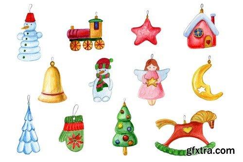 CM - Watercolor Christmas decorations set -
