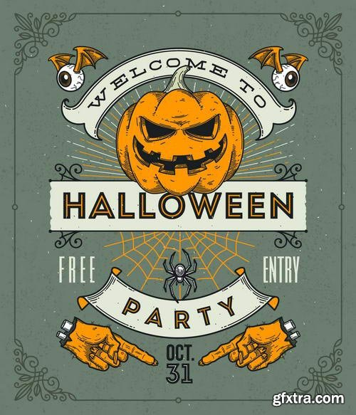 Vintage Halloween Party Posters 7xEPS