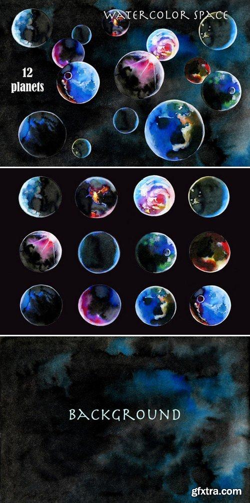 CM - Watercolor space. 12 planets 409893