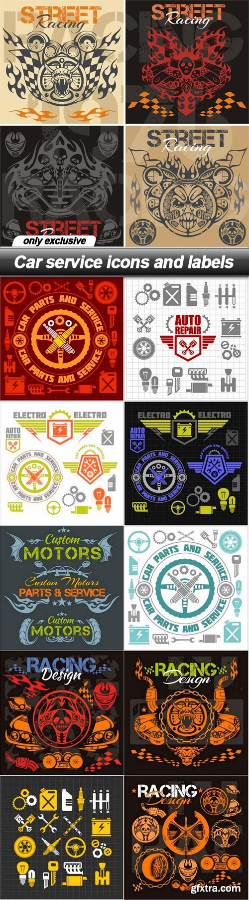 Car service icons and labels - 11 EPS