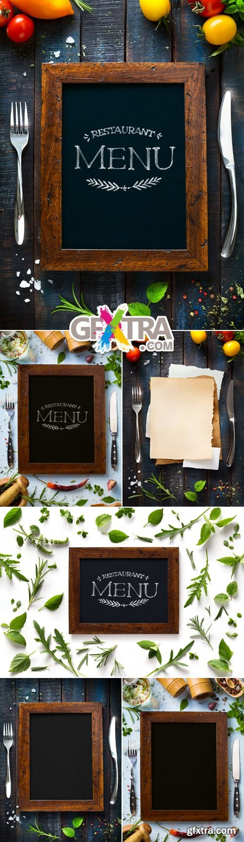 Stock Photo - Menu Frames on Wooden Background