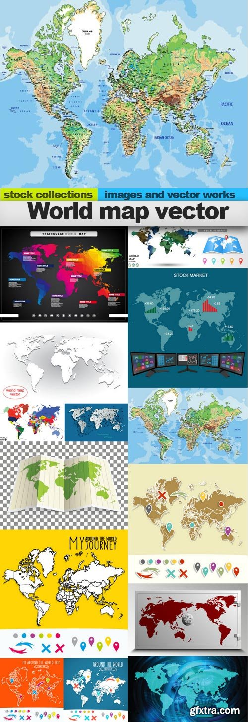 World map vector, 15 x EPS