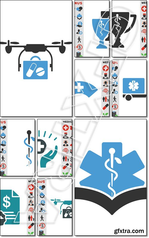 Medical Drone Shipment vector icon. Style is bicolor flat symbol, blue and gray colors, rounded angles - Vector
