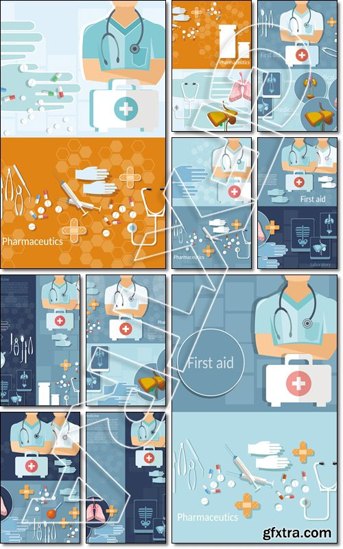 Medicine concept doctor professional first aid kit hospital ambulance tablets treatment vector banners - Vector