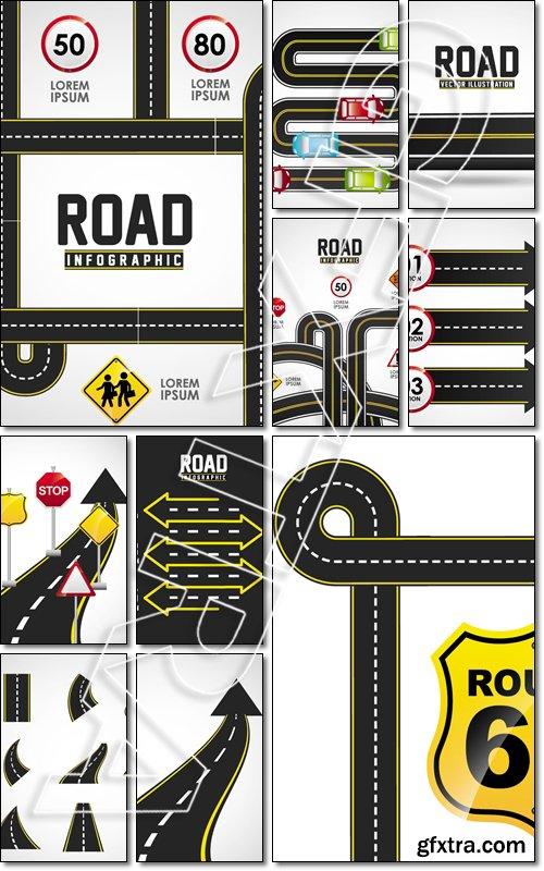 Road infographics design, illustration eps10 graphic - Vector