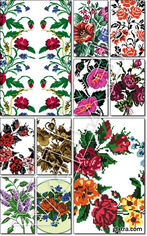 Wallpapers or textile. Color circle bouquet of flowers (roses, chamomile and cornflowers) embroidery elements - Vector