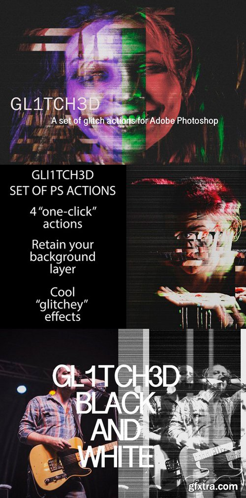 CM - Glitched Set of Photoshop Actions 413833