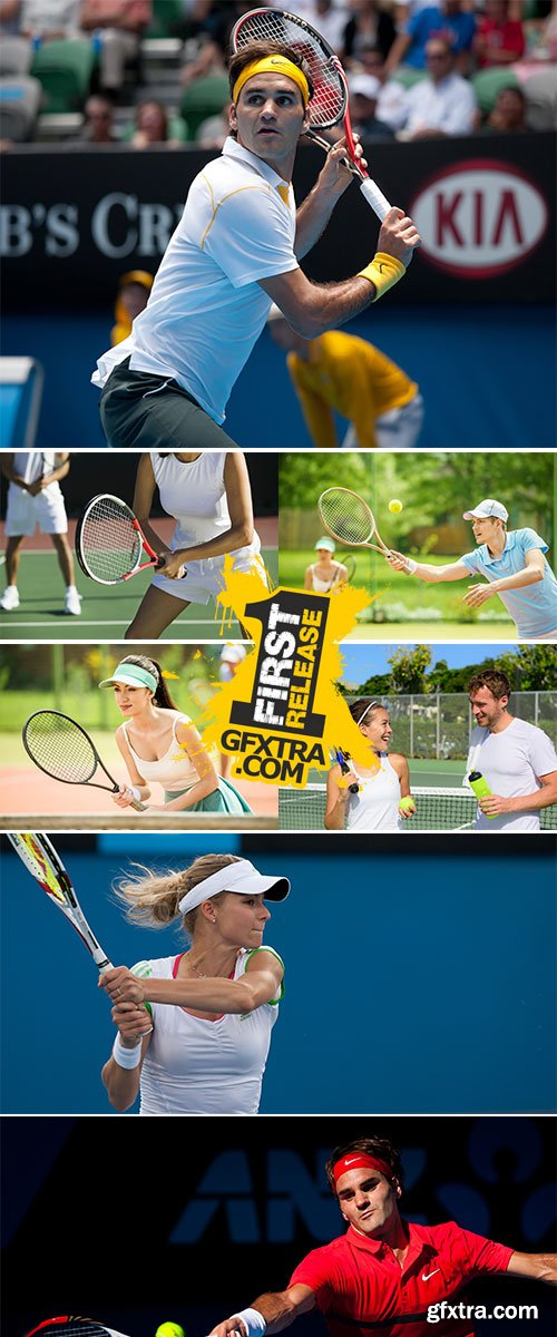 Stock Image Playing mixed doubles tennis game