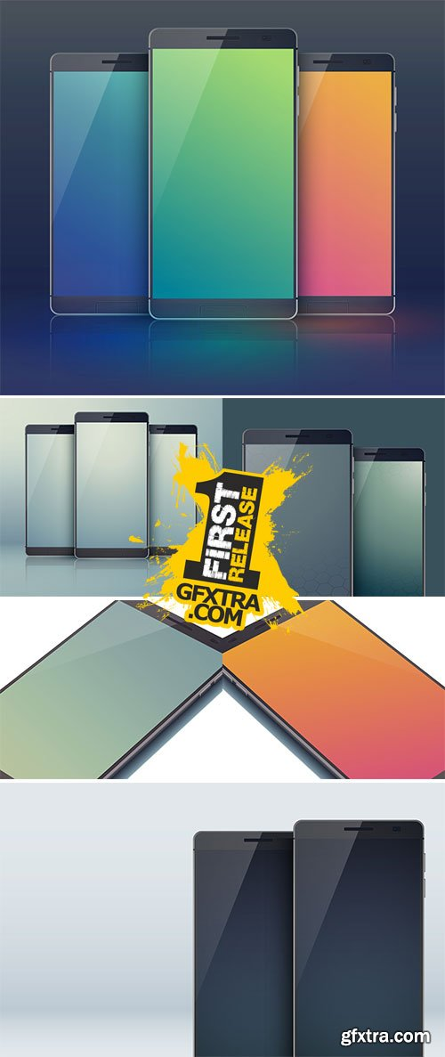 Stock Realistic smartphone with blank screen vectors
