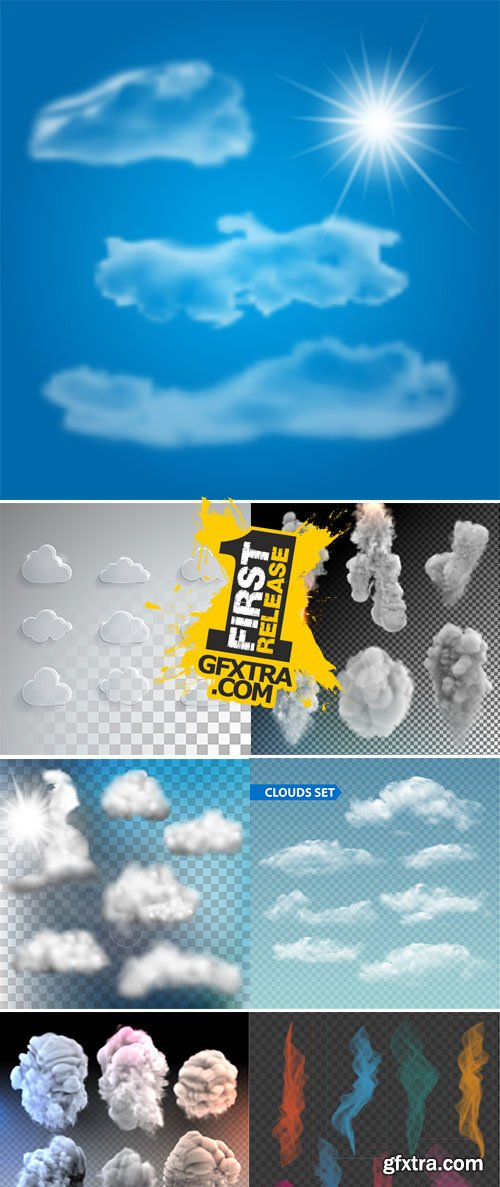 Stock Set of transparent different clouds vectors