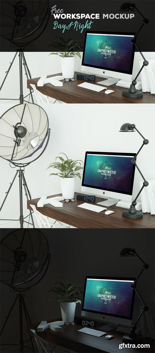 iMac Workspace Mockup Template - Day & Night