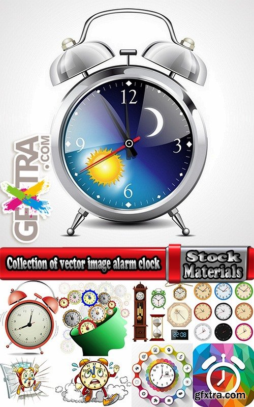 Collection of vector image alarm clock clock time clock face 25 EPS