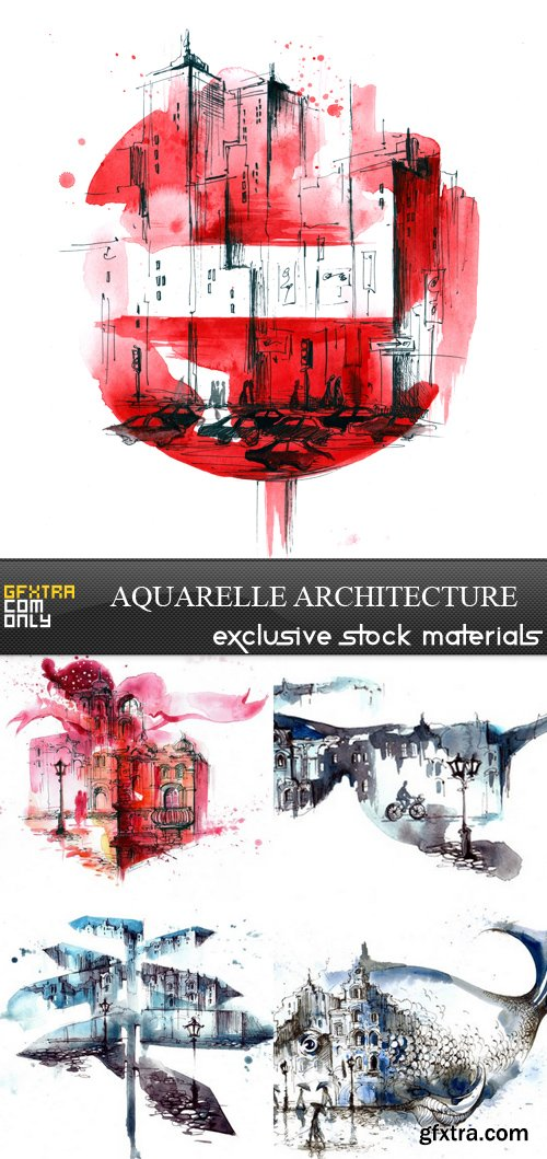 Aquarelle Architecture - 5 UHQ JPEG