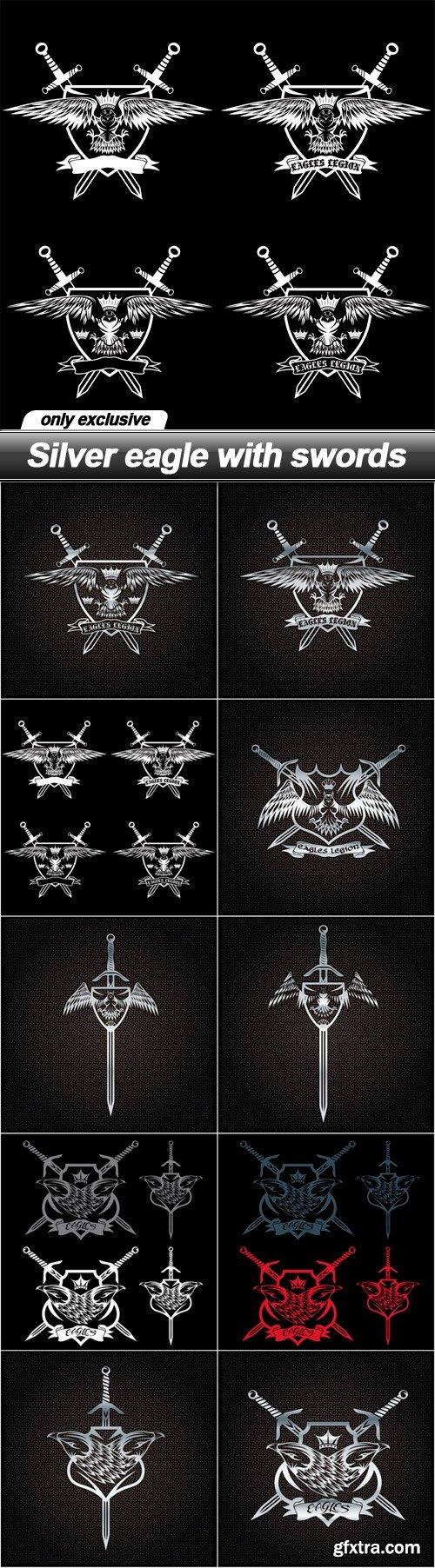 Silver eagle with swords - 10 EPS