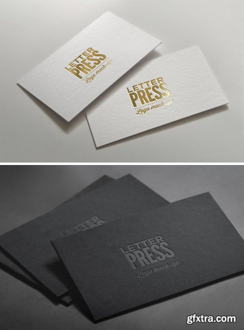 Logo Mock-Ups - Golden and Classic Letterpress on Business Card