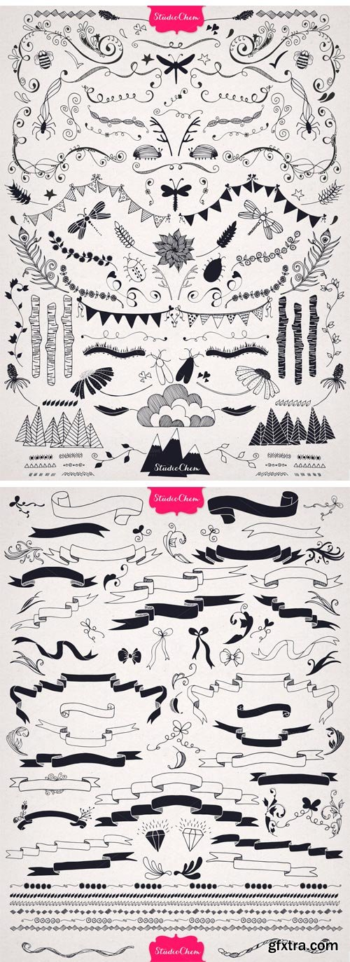CM 50189 - HUGE Hand Drawn Nature Pack Elements