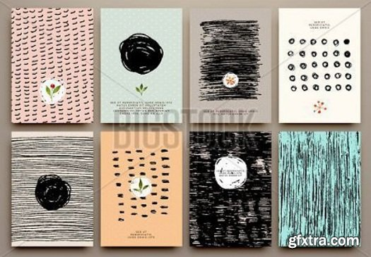 Set of Vintage Creative Cards with Hand Drawn Hipster Textures Made with Ink
