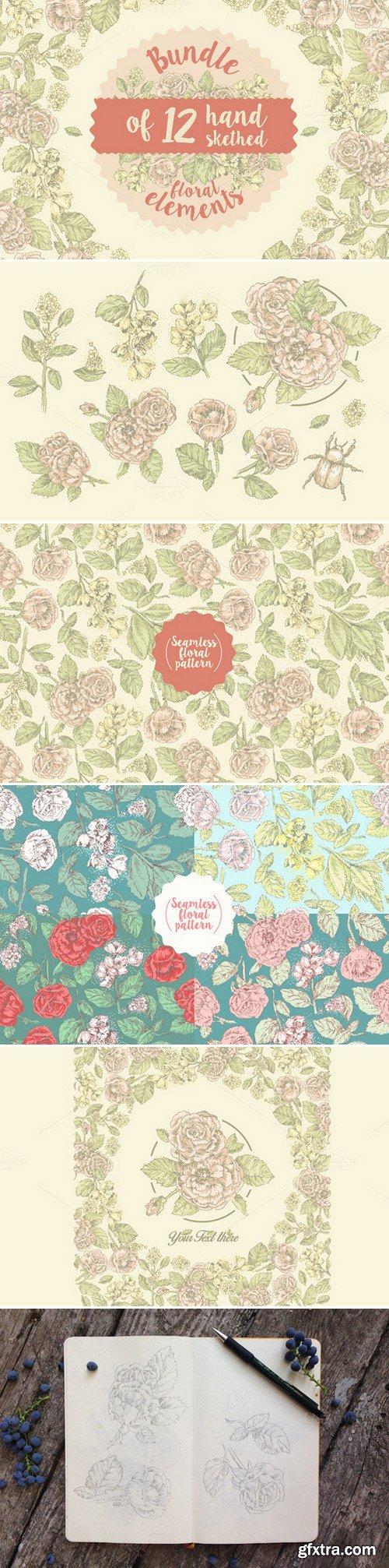 CM - 12 handsketched flower elements 425848