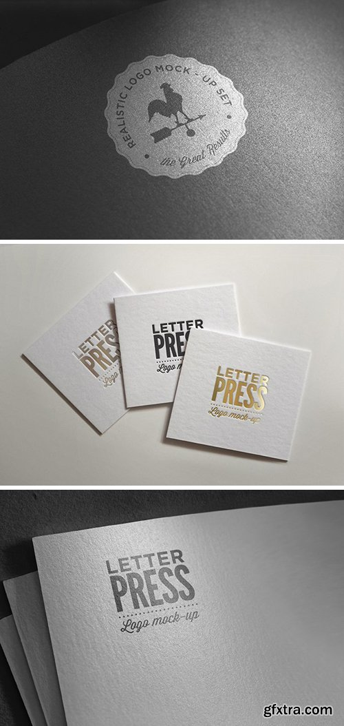 Logo Mock-Ups - Golden, Silver and Classic Letterpress