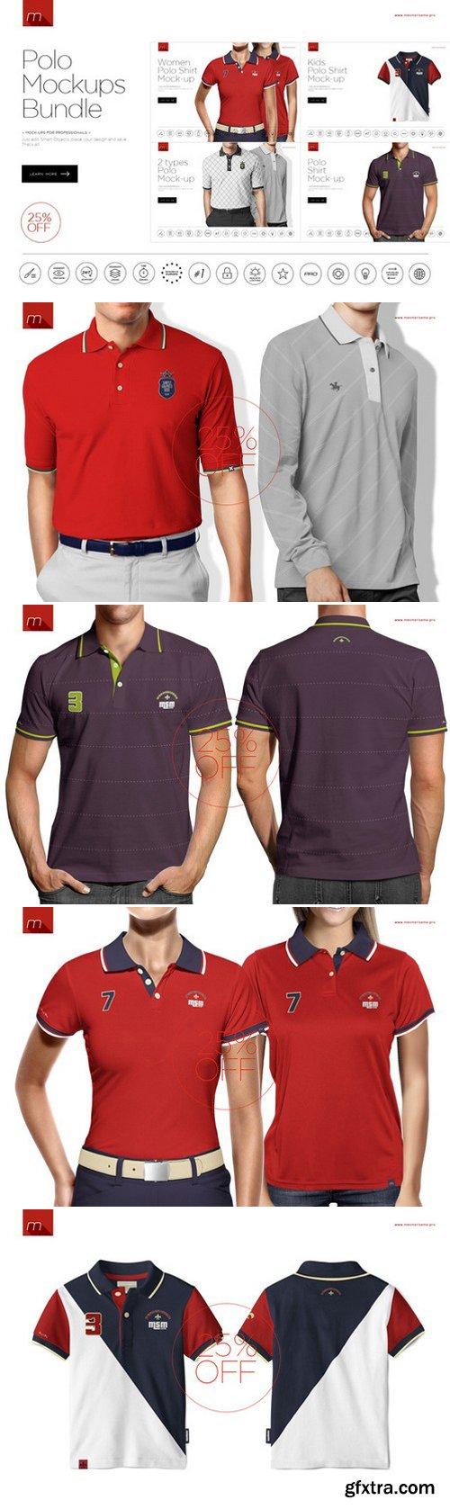 CM - Polo Shirt Mock-ups Bundle 4in1 426485