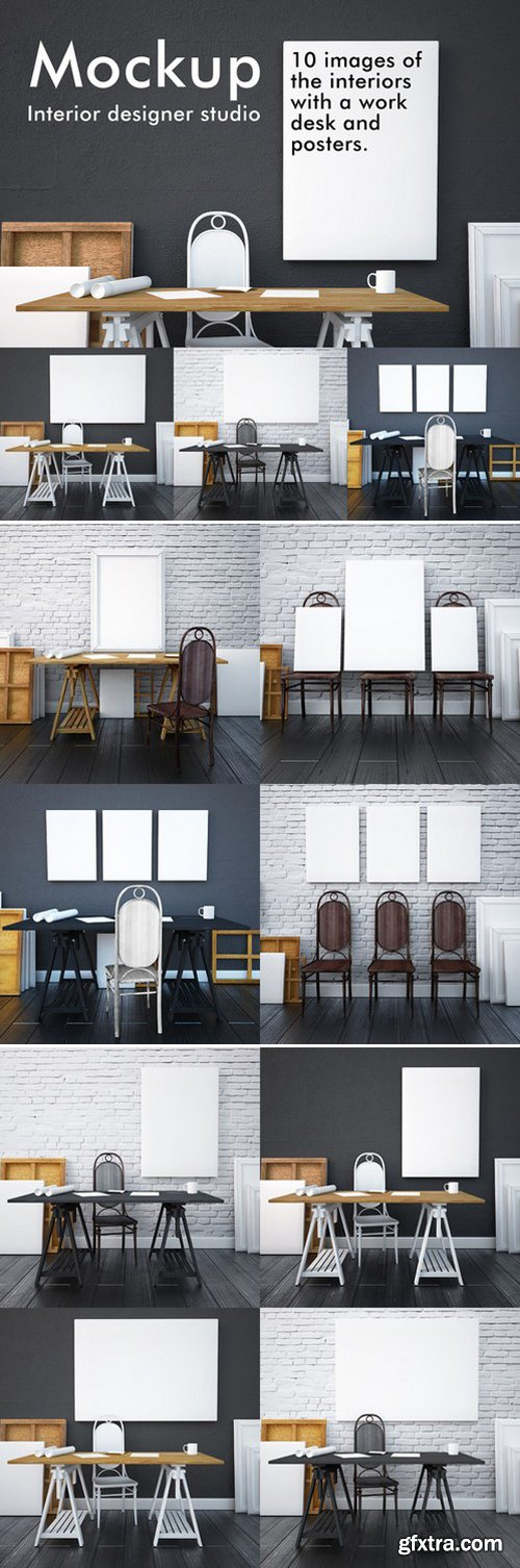 CM - Mockup studio interior with posters 422233