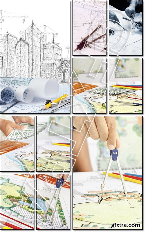 Architecture background: Construction plan tools and blueprint drawings , pen and divider tool - Stock photo