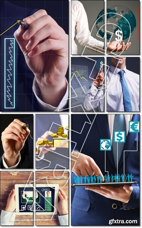 Businessman with financial graphic coming from hand - Stock photo
