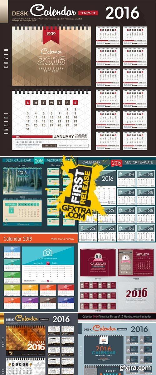 Stock 2016 calendar template, English calendar