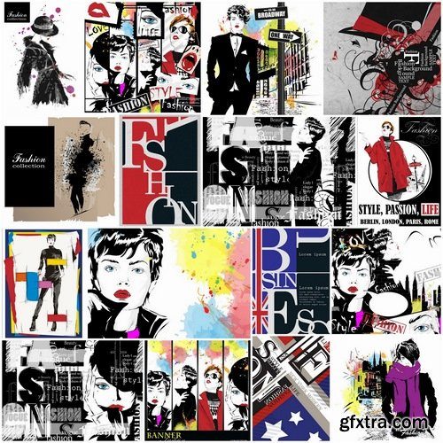 Illustrations of fashionable girls and fashion week 2 - 25 Eps