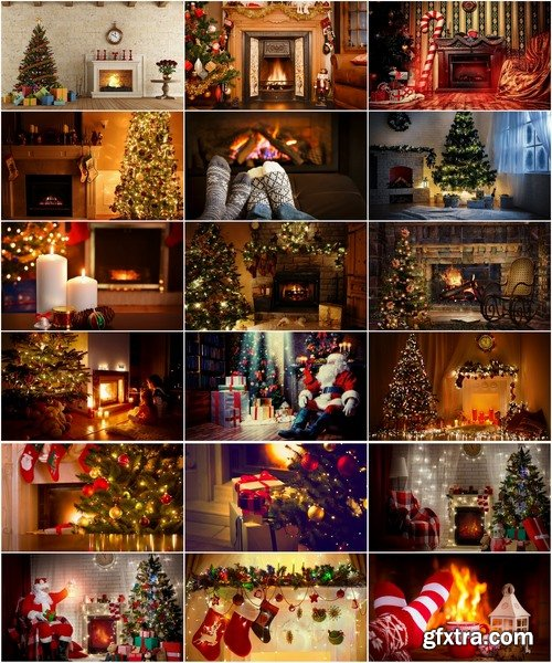 Collection of New Year Christmas fireplace cozy warmth warm interior decoration 25 HQ Jpeg