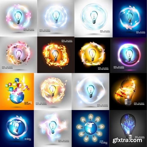 Collection of vector image background is a high-tech electric lamp 25 EPS