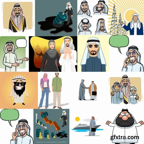 Collection of vector picture cartoon Arabian Sheikh Wanderer 25 EPS