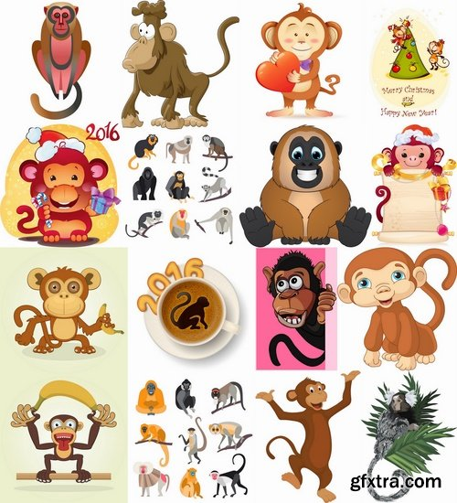 Collection of vector picture cartoon the marmoset monkey 25 EPS