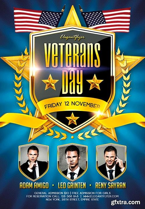 Veterans Day 2 Flyer PSD Template + Facebook Cover