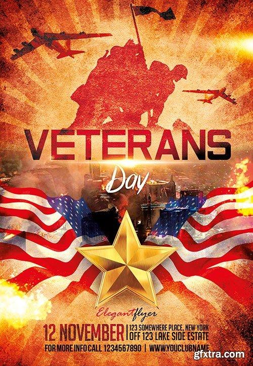 Veterans Day Flyer PSD Template + Facebook Cover