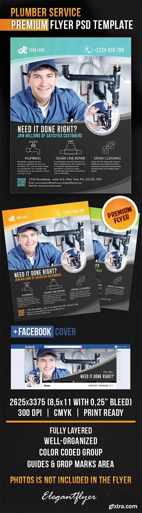 Plumber Service Flyer PSD Template + Facebook Cover