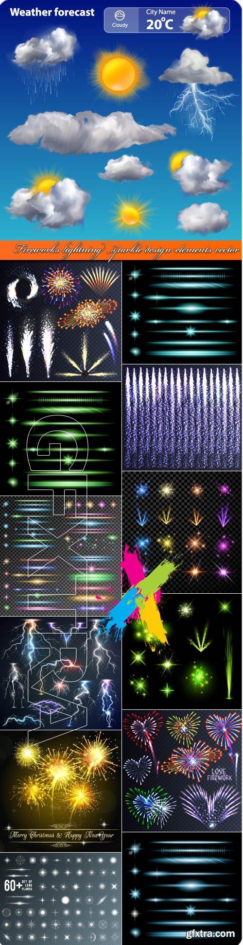 Fireworks lightning sparkle design elements vector