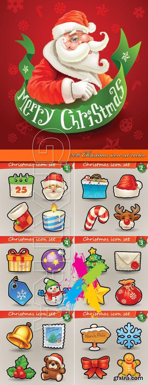 2016 Christmas icon set vector
