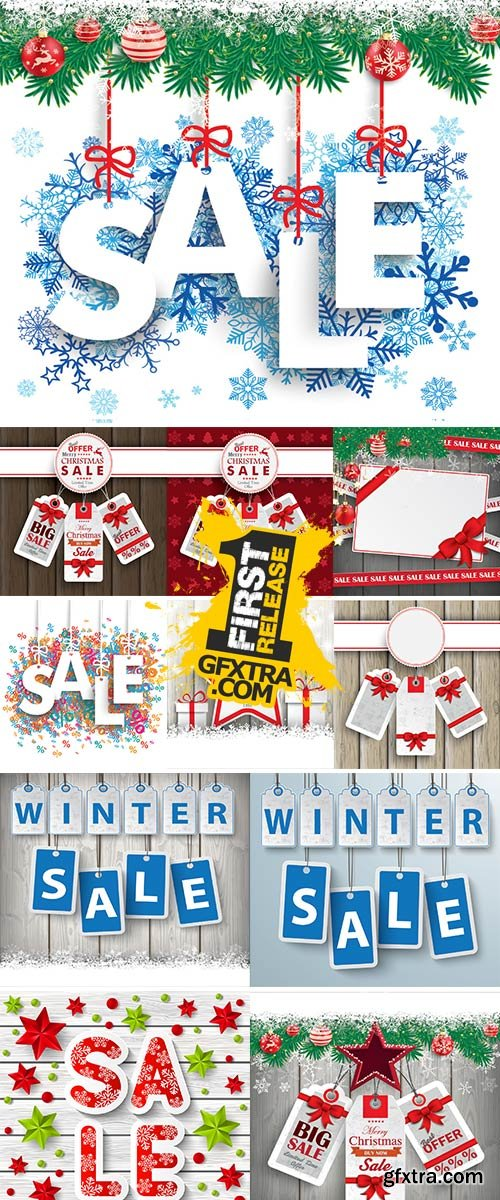 Stock christmas price stickers on the wooden background vector