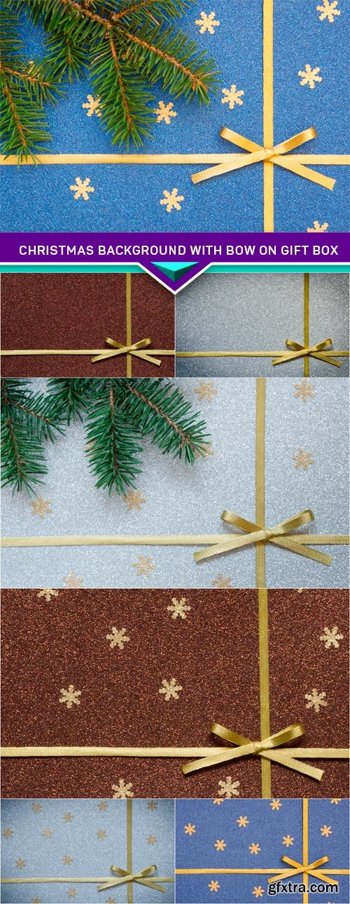 Christmas background with bow on gift box 7x JPEG